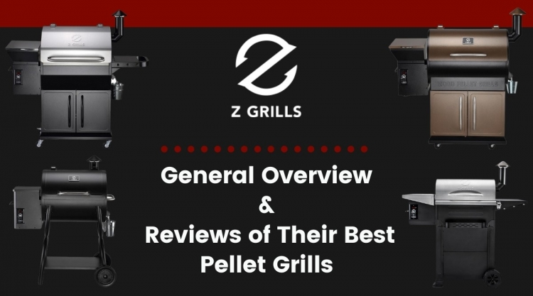 Four Zgrills pellet grills, their logo, and text explaining it