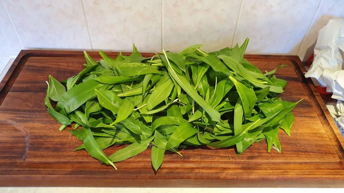 Wild garlic on cutting board
