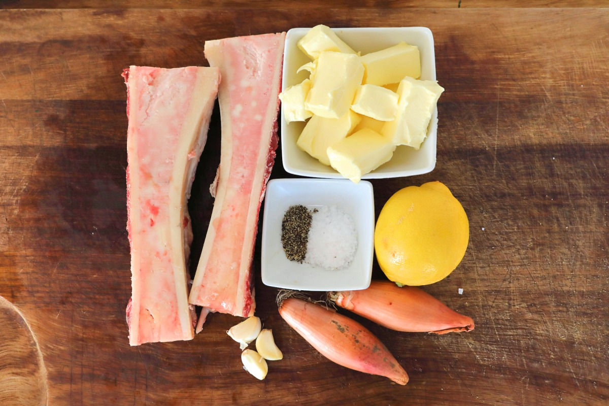 Overhead shot of bone marrow butter ingredients