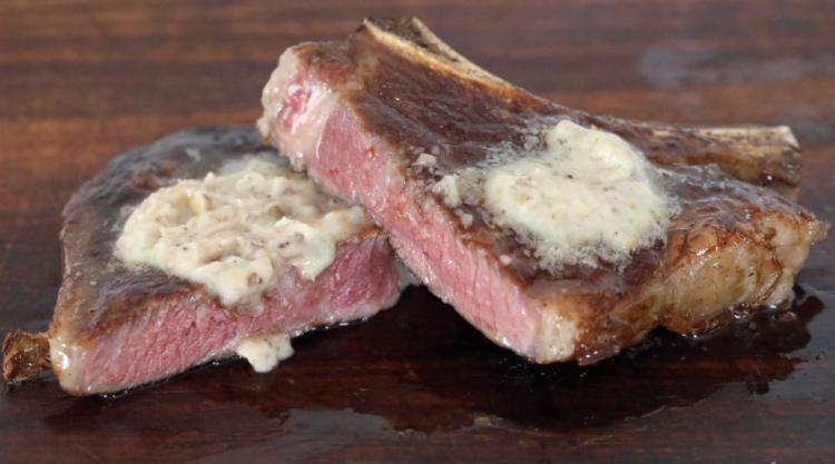 bone marrow butter melted on steak