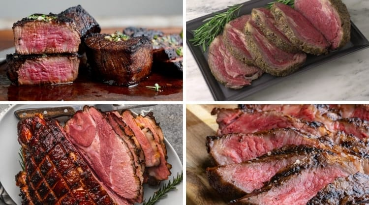 4 photos of cooked steak, beef and a ham from the snake river farms website