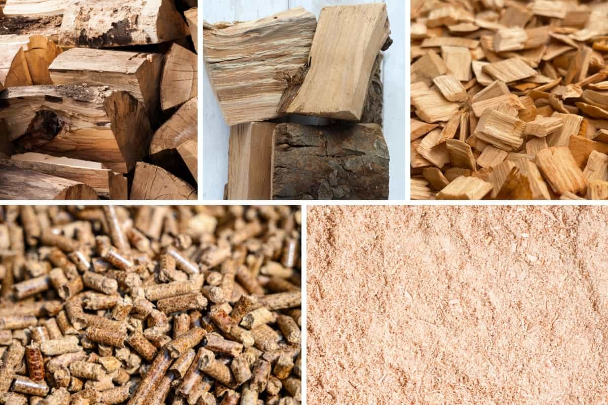 Five photo montage of wood logs, chunks, chips, pellets, and dust