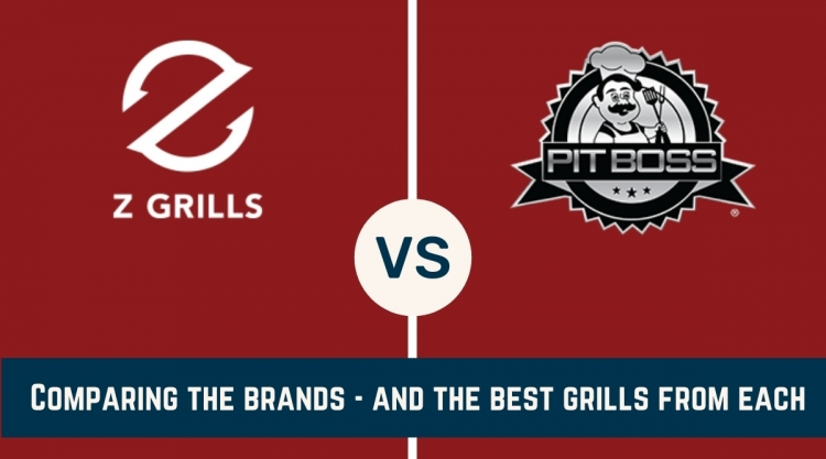 z grills vs pit boss logos on a red background