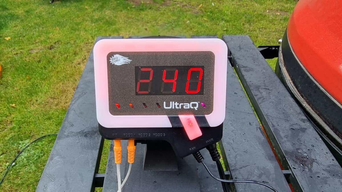 UltraQ in use, showing 240F on its display