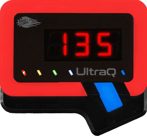BBQ Guru ultraQ controller with red light around outside, and blue light probe indicator lit.
