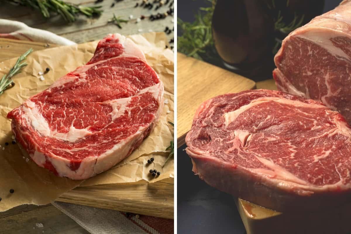 grass fed vs grain fed steaks in a photo each side by side