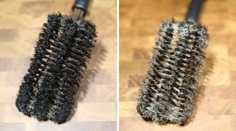 Before and after pictures of a grill brush that