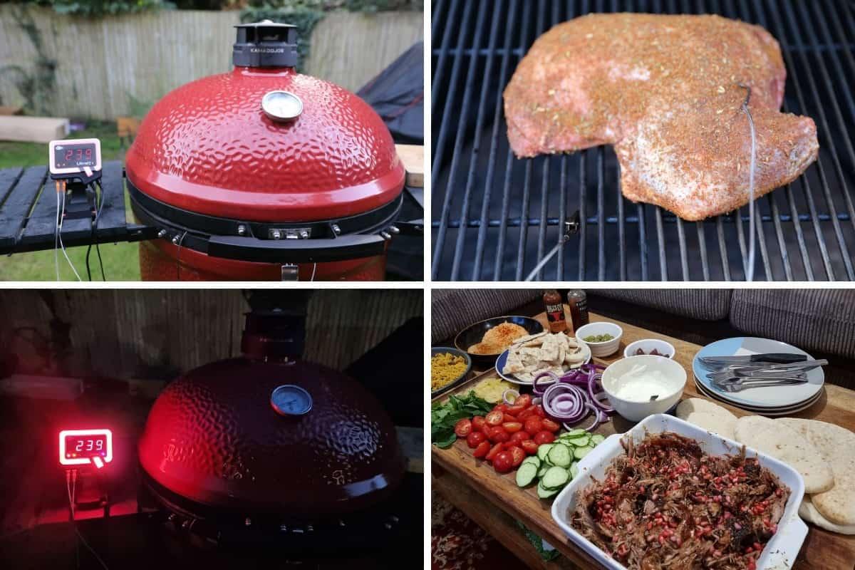 Four photos showing the BBQ Guru UltraQ connected to a Big Joe III to cook a lamb shoulder