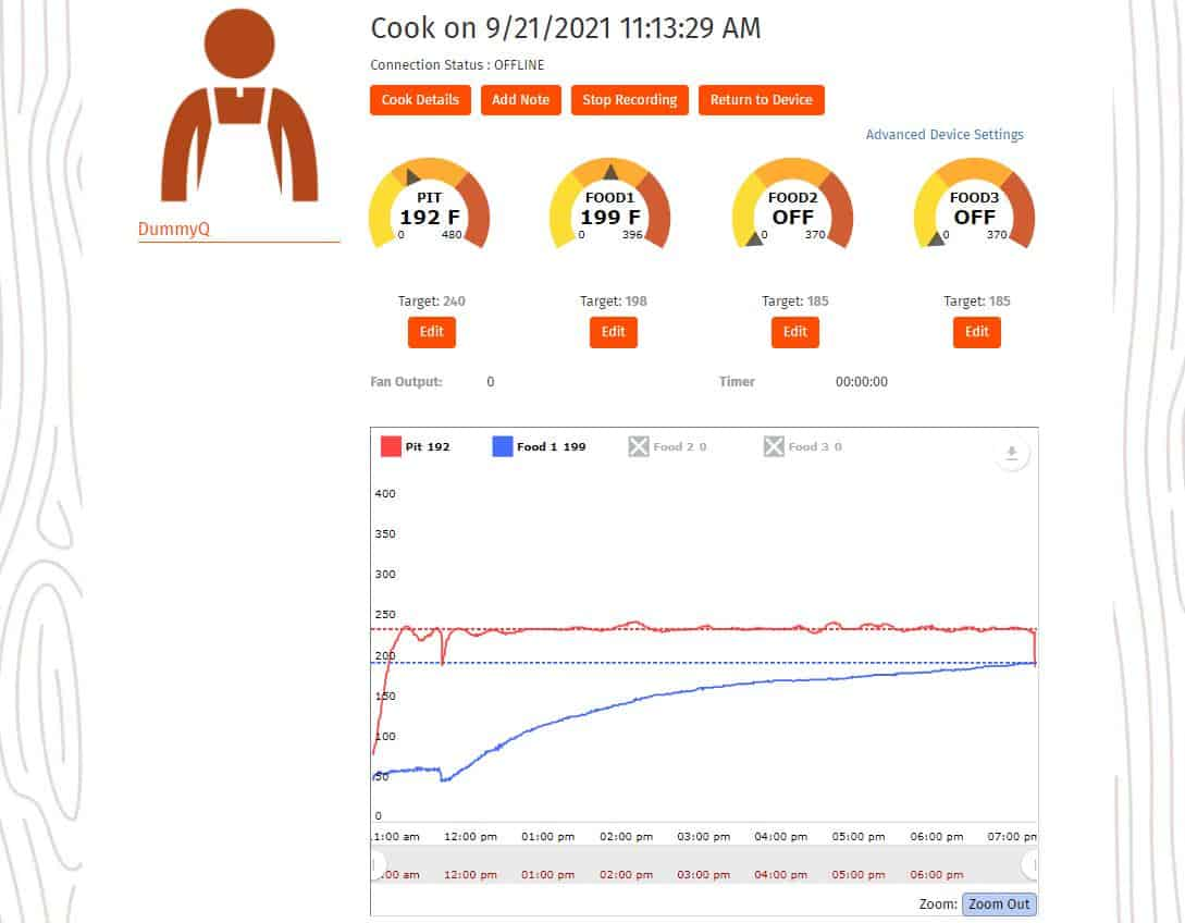 sharemycook cook details page with graph of temp changes over time