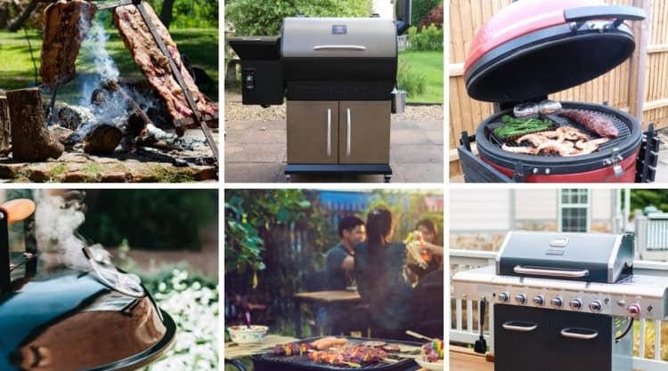 Montage of six photos of different grill types